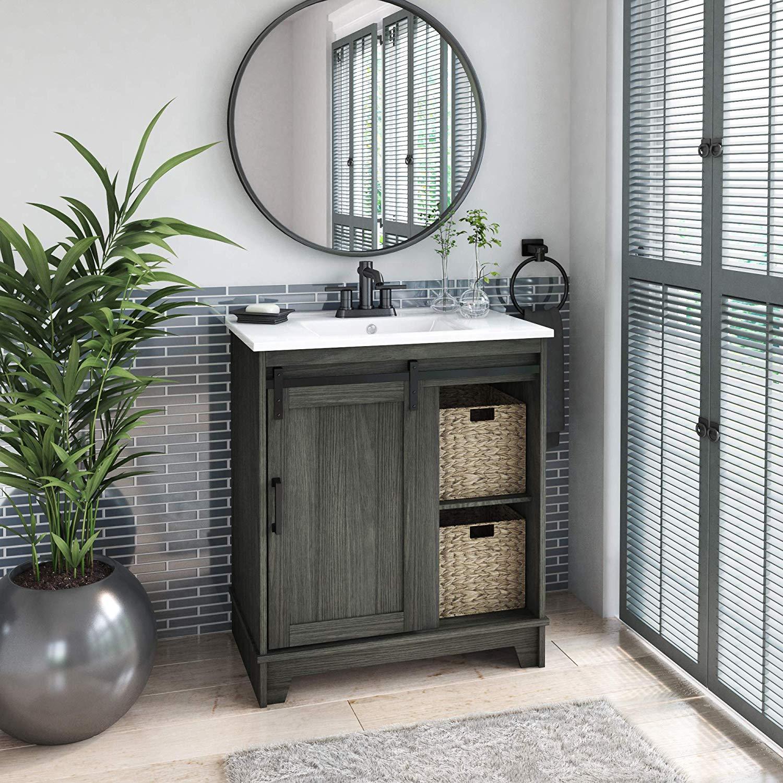 "Pamari Cassara 30"" Geneva Oak Single Bathroom Vanity with ..."