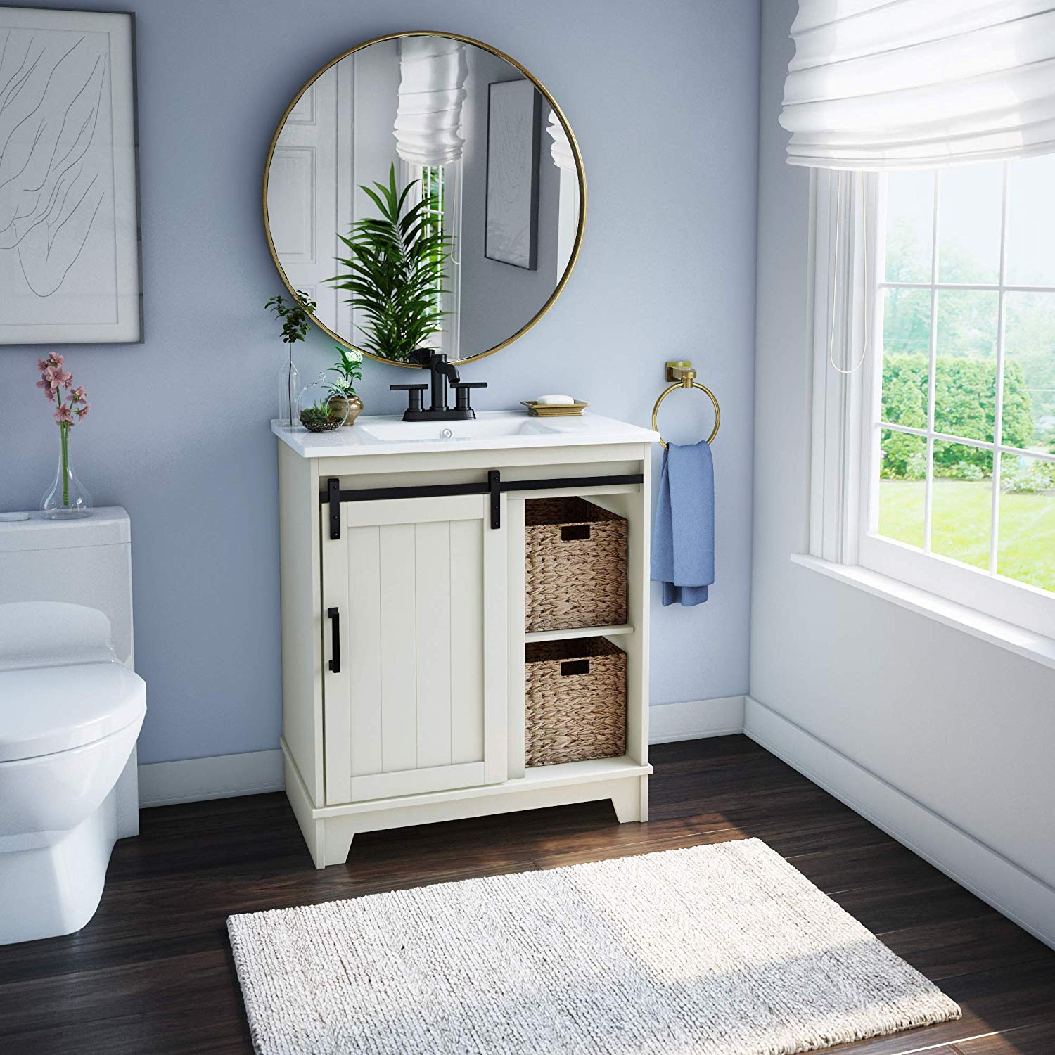 "pamari cassara 30"" white single bathroom vanity with"